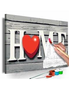Tableau à peindre soi même HOME WITH RED HEART - par Artgeist