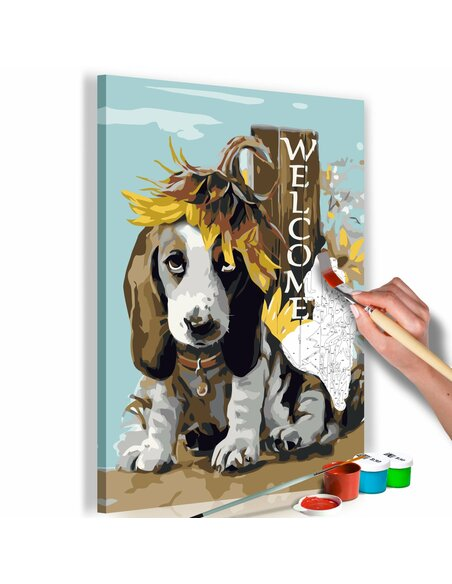 Tableau à peindre soi même DOG AND SUNFLOWERS - par Artgeist