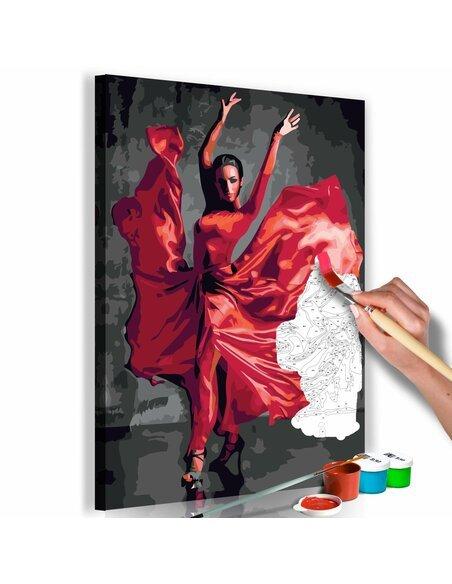 Tableau à peindre soi même RED DRESS - par Artgeist