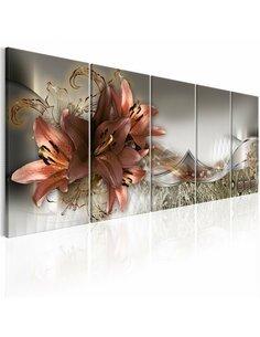Tableau XXL Lilies and Abstraction Tableaux Abstraction Fleurs et plantes Artgeist
