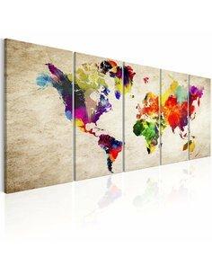 Tableau XXL World Map: Painted World Cartes du monde Artgeist