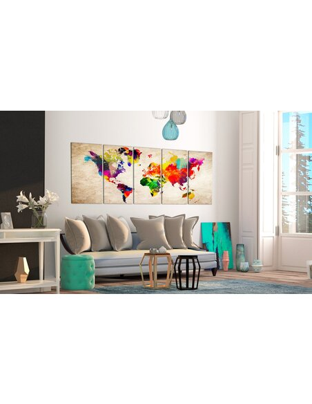 Tableau XXL World Map: Painted World Cartes du monde Artgeist