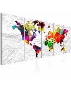 Tableau XXL World on Paper Tableaux Cartes du monde Artgeist