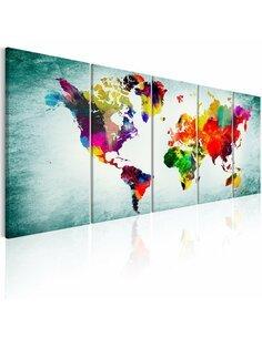 Tableau XXL World Map: Green Vignette Cartes du monde Artgeist