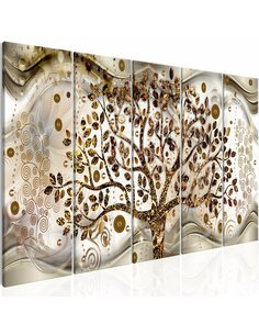 Tableau XXL Tree and Waves (5 Parts) Brown Modernes Artgeist