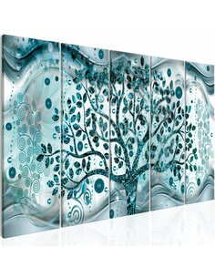 Tableau XXL Tree and Waves (5 Parts) Blue Tableaux Abstraction Modernes Artgeist