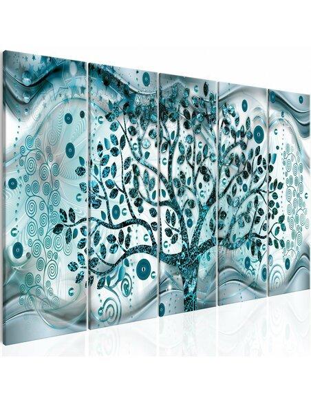 Tableau TREE AND WAVES 5 parties BLUE - par Artgeist