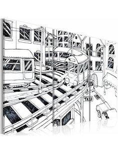 Tableau GARE FUTURISTIQUE en N&B - par Artgeist