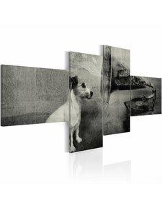 Tableau PHONOGRAPHE ET PETIT CHIEN - par Artgeist