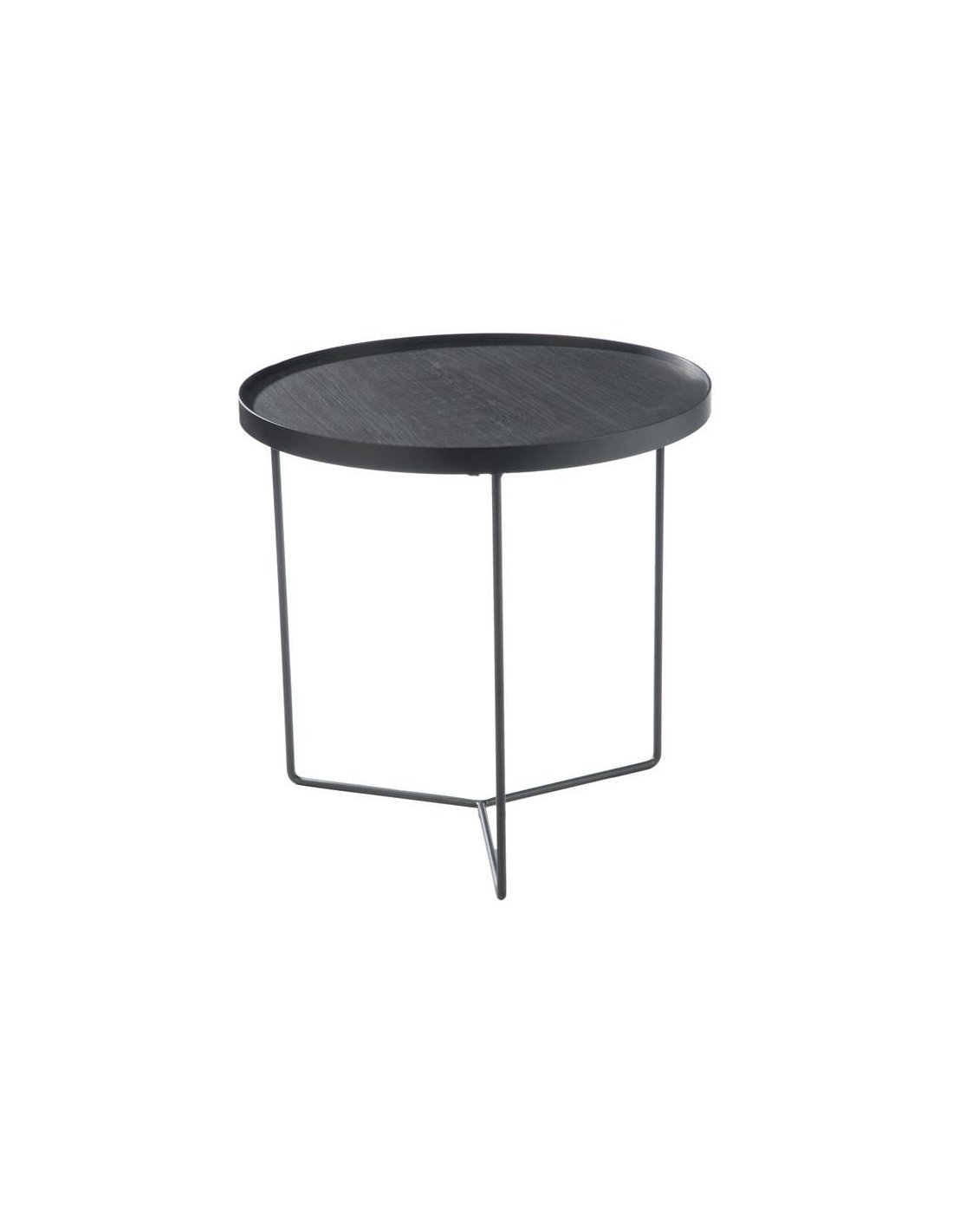 Table gigogne ronde bois metal marron fonce small tables gigognes j line