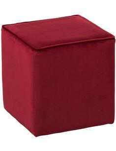 x2 Pouf carrée Velours Rouge BOONDARRA - par J-Line