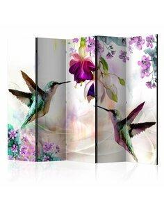Paravent 5 volets HUMMINGBIRDS AND FLOWERS II - par Artgeist