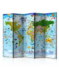 Paravent 5 volets WORLD MAP FOR KIDS II - par Artgeist