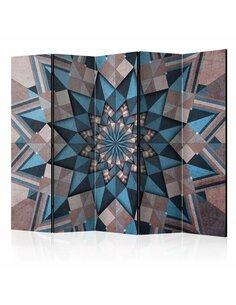 Paravent 5 volets STAR MANDALA BROWN-BLUE II - par Artgeist