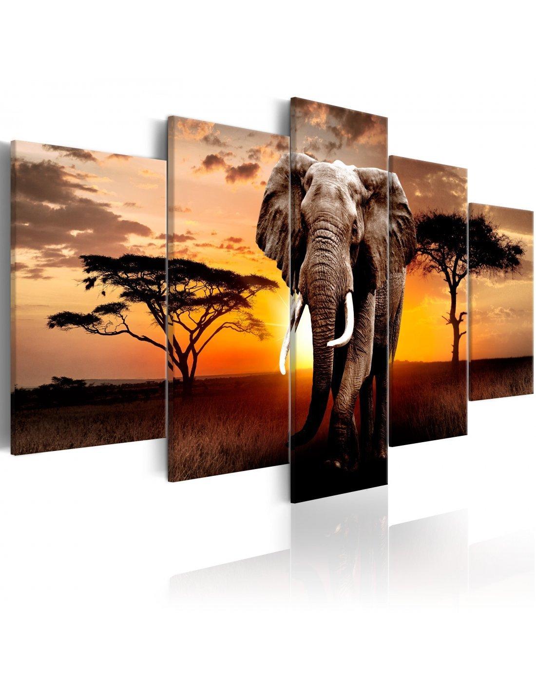 Éléphants sunset afrique safari single toile murale art imprimé photo