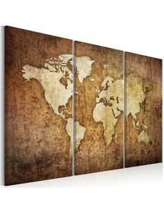 Tableau WORLD MAP: BROWN TEXTURE - par Artgeist