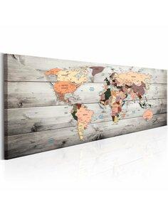 Tableau WORLD MAPS: WOODEN TRAVELS - par Artgeist