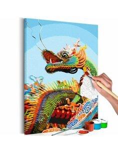 Tableau à peindre soi même COLOURFUL DRAGON - par Artgeist