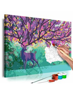 Tableau à peindre soi même PURPLE DEER - par Artgeist