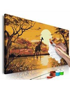 Tableau à peindre soi même GIRAFFE AT SUNSET - par Artgeist
