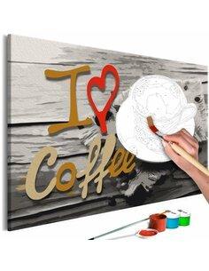 Tableau à peindre soi même I LOVE COFFEE - par Artgeist