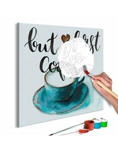 Tableau à peindre soi même BUT FIRST COFFEE - par Artgeist