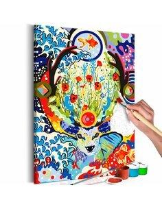 Tableau à peindre soi même DEER AND FLOWERS - par Artgeist