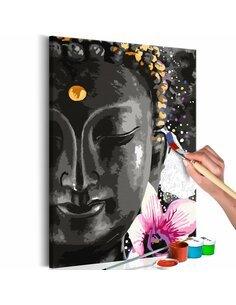 Tableau à peindre soi même BUDDHA AND FLOWER - par Artgeist
