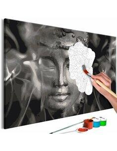 Tableau à peindre soi même BUDDHA IN BLACK AND WHITE - par Artgeist