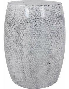 Pouf en métal COLOMBO 110 Blanc Gris - par Arte Espina