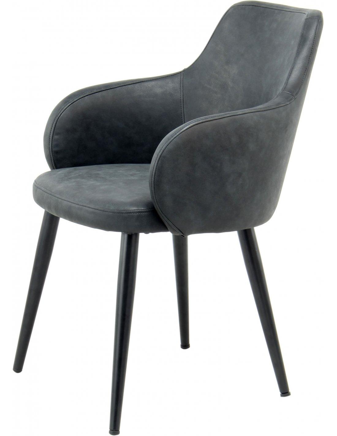 2 Pièce Lot Chaise Lot fauteuil en métal-Textiles Couleur Anthracite-Noir
