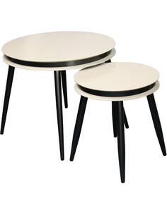 2x tables gigognes SIDE SURI 110 Taupe Noir - par Arte Espina
