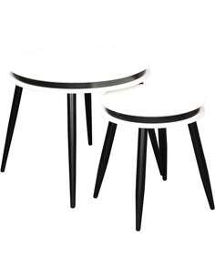 2x tables gigognes SIDE SURI 110 Blanc Noir - par Arte Espina