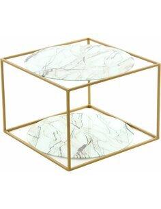 Table CODY 110 Blanc Marbre Or - par Arte Espina