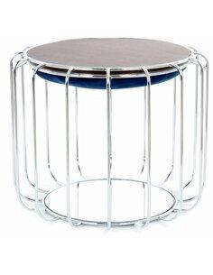Pouf reversible table d'appoint 110 CONFORTABLE Bleu Foncé Argent - par Arte Espina