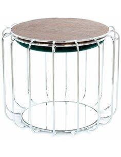 Pouf reversible table d'appoint 110 CONFORTABLE Vert Foncé Argent - par Arte Espina