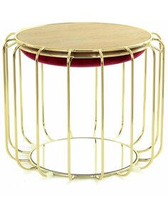 Pouf reversible table d'appoint 110 CONFORTABLE Rouge Or - par Arte Espina