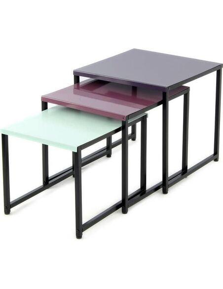 3x Table gigognes CÔTÉ SUD 110 PLUM Vert - par Arte Espina