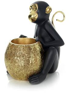 Sculpture SITTING SINGE 110 Or Noir - par Arte Espina