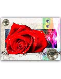 Plaque acier décorative ROSE ROUGE - par Feeby