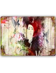 Plaque acier décorative FILLE DANS UN CHAPEAU - par Feeby