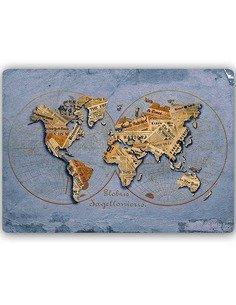 Plaque acier décorative CARTE DU MONDE DE JOURNAUX - par Feeby