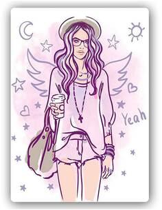 Plaque acier décorative HIPSTER GIRL 2 - par Feeby