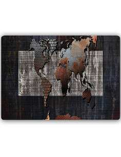 Plaque acier décorative AVEC UNE CARTE DU MONDE COMPOSITION 4 - par Feeby