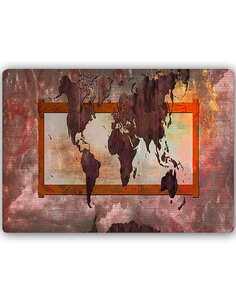 Plaque acier décorative AVEC UNE CARTE DU MONDE COMPOSITION 5 - par Feeby