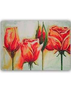 Plaque acier décorative FLEURS ROSE - par Feeby