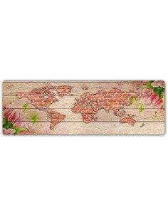 Plaque acier décorative PLANISPHÈRE - BRIQUE - par Feeby