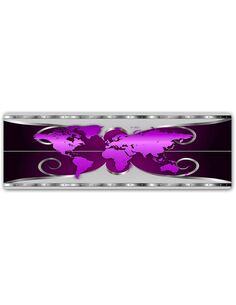 Plaque acier décorative PLANISPHÈRE - VIOLETTE - par Feeby