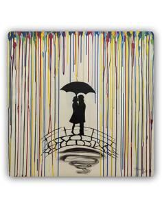 Plaque acier décorative EN COUPLE SOUS LE PARAPLUIE - par Feeby