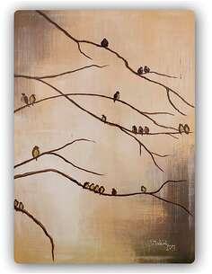 Plaque acier décorative LES OISEAUX SUR LES BRANCHES - par Feeby